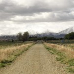 Rail Trail with snow on the mountains