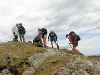 Cresting Mt Charles. Who? Doug, Ian, Pat, Wendy, Hazel