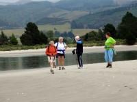 Low Tide at end of Warrington Peninsula. Rabbit Island behind. Pat, Margaret, Dot, Angela.