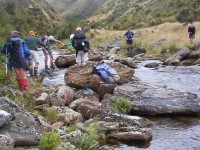 Stream crossing by old diggings. Dorothy? George, Doug J? Bill, Arthur, Pat