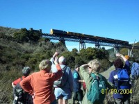 Taieri Gorge Train on Wingatui Viaduct. Ria, Pat, Peter, Evelyn, Judy, Helen, George