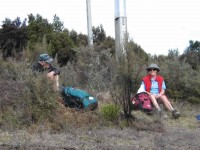 Lunch at the pole line. George, Glenice