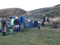 Morning tea at Verter Burn crossing. (Heb pic, Ken caption)