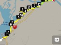 GPS of route Taieri Ferry Bridge to Waihola, return.