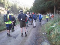Hikers grouped at the plantation entrance