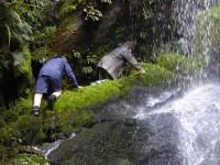 Going under Falls. 3. Entering Falls. (Liz pic